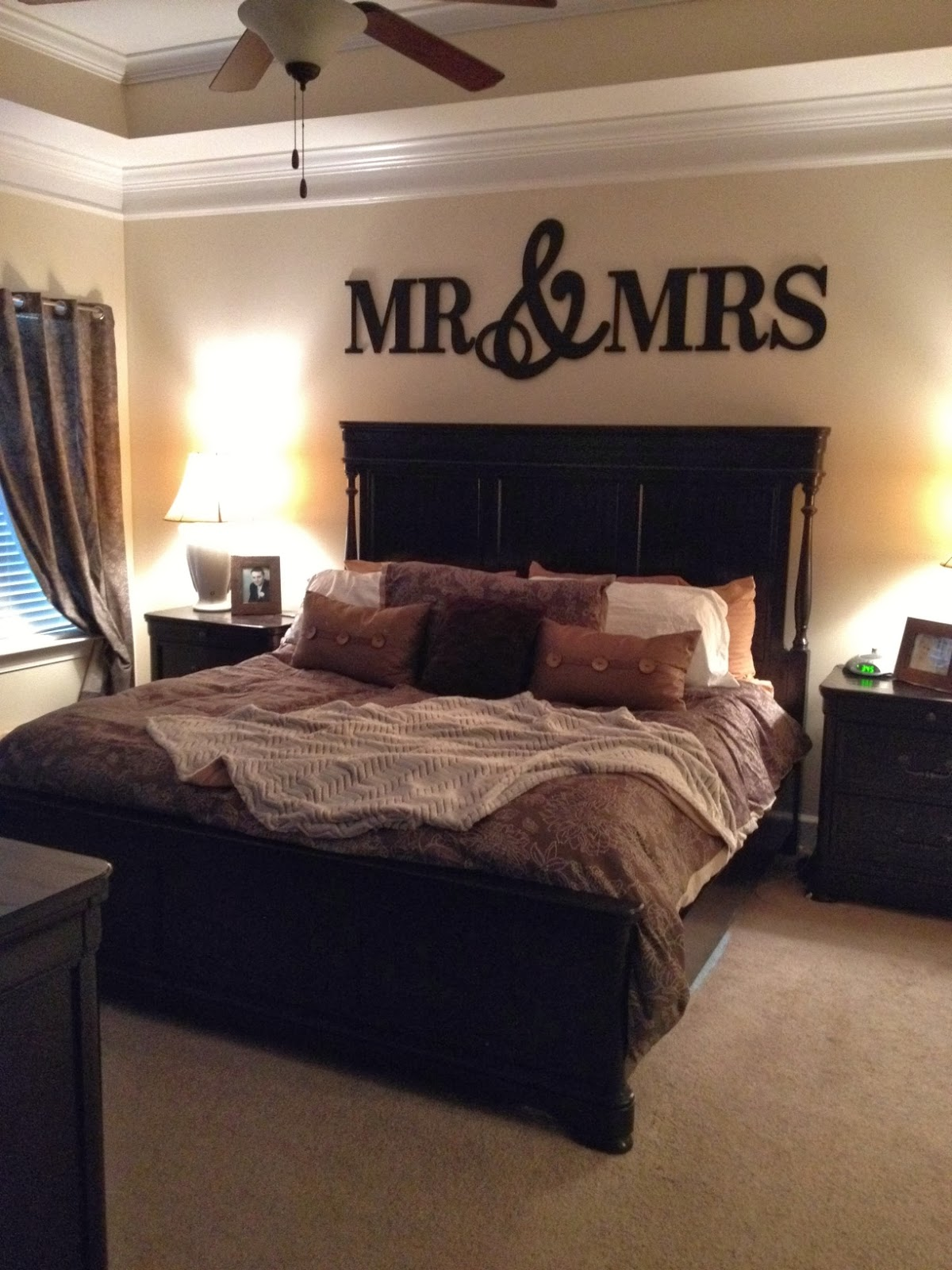 Simply the simmons mr mrs Master bedroom art above bed