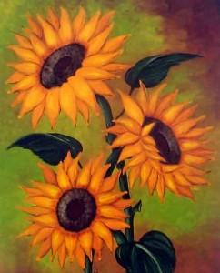 pintura al leo Cuadros de flores grandes