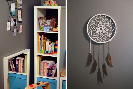 Dancing Commas | Silas' Nursery: Windowseat shelves and dreamcatcher