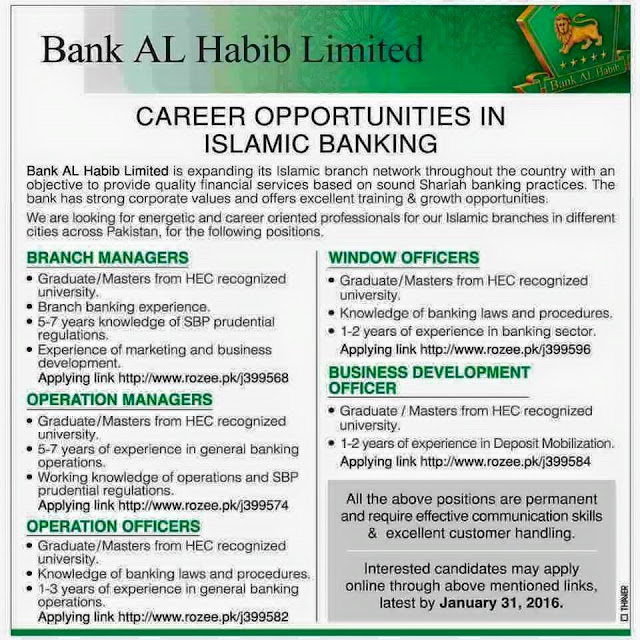 Various New Jobs in Bank AL Habib Limited Pakistan