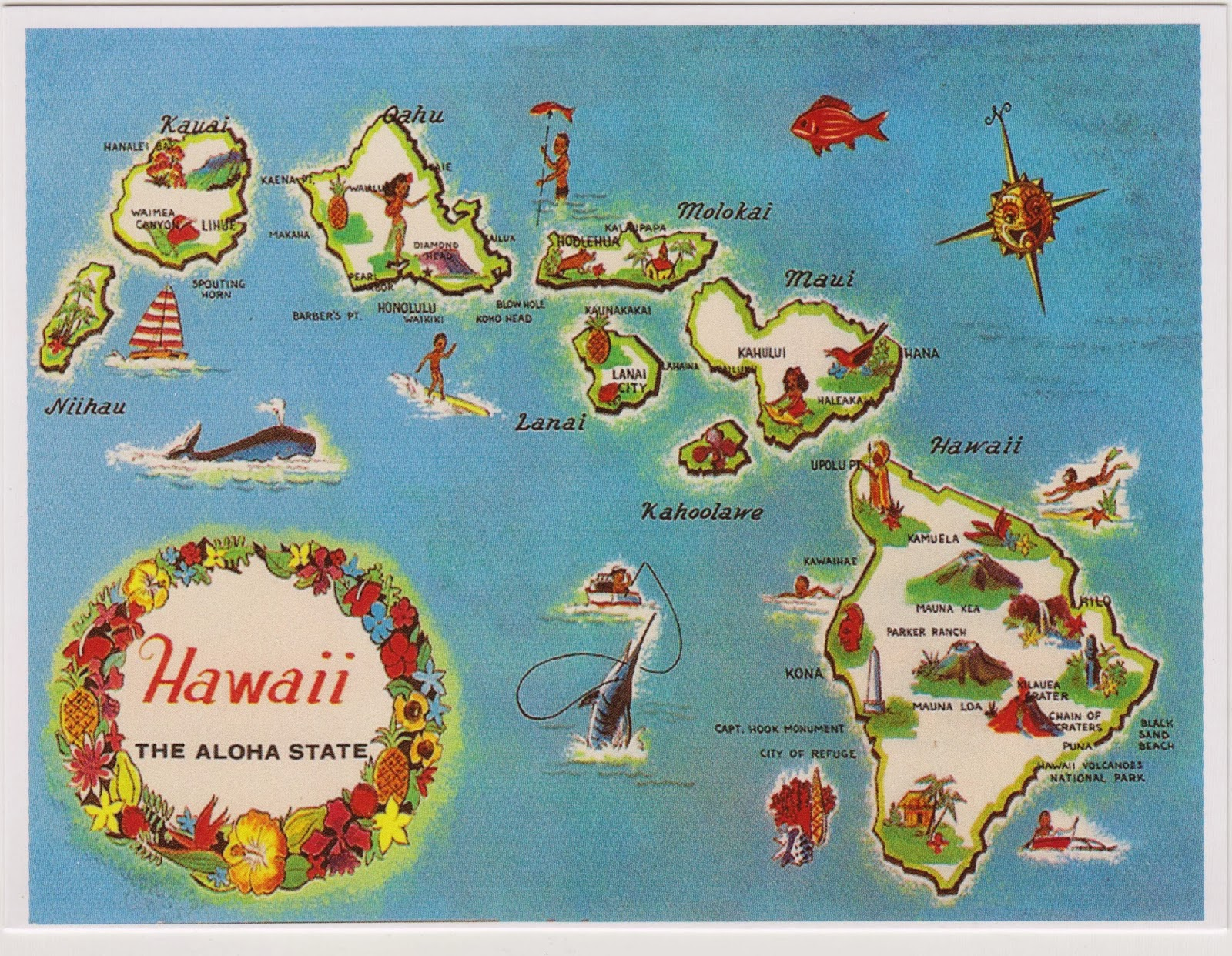 One Postcard A Day Hawaii The Aloha State - Pretty us map with hawaii