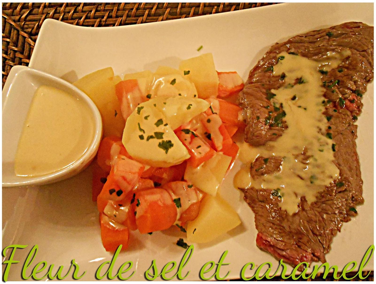 Bavette, carottes et pommes de terre à la dijonnaise
