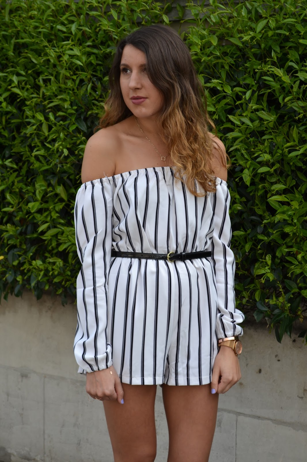ad332699ce9 Striped Bardot Playsuit. Playsuit - Missguided