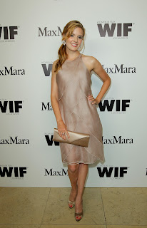 Maggie Grace in goldish outfit at Max Mara Women In Film Cocktail Party