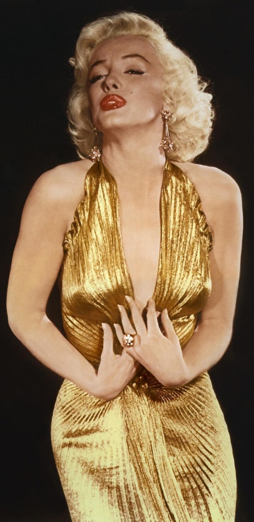 Marilyn Monroe wears her iconic gold dress in Gentlemen Prefer Blondes