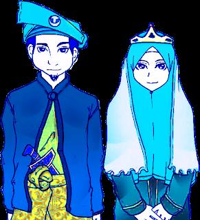 pengantin muslimah, kartun pengantin, perkahwinan, cartoon, ijab dan
