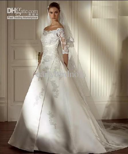 Gorgeous aglaya bridal gown lace with elbow long sleeve for White wedding dresses with sleeves
