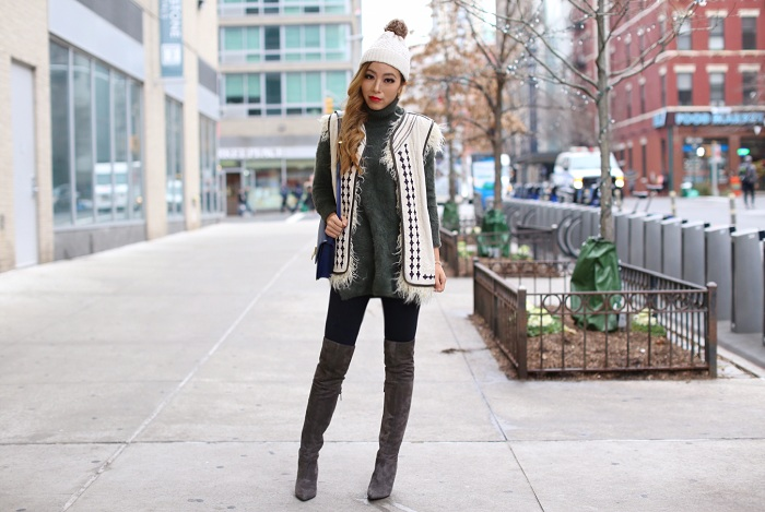 Free people reversible vest, chicwish fluffy turtleneck sweater in olive, j crew pom pom beanie, celine classic box bag, steve madden otk boots, Kendra scott bracelet, kendra scott earrings, nyc street style