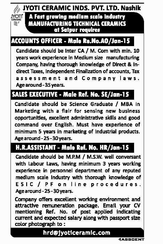 Jyoti Ceramic Inds.Pvt.LTD.Nashik Recruitment 2015