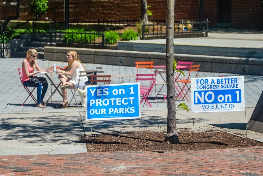 Portland, Maine Congress Square Park Yes on 1 No on 1 Voting Signs June 10 2014 photo by Corey Templeton