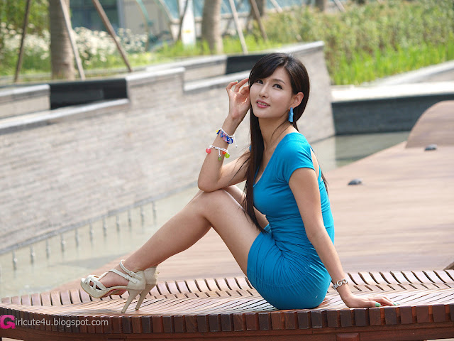 1 Cha Sun Hwa in Blue Mini Dress-Very cute asian girl - girlcute4u.blogspot.com