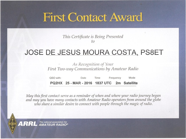 First Contact Award - Satelitte