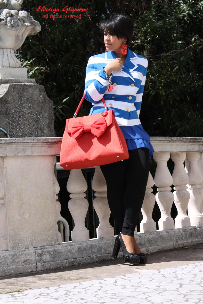 blazer strisce bianco e blu outfit