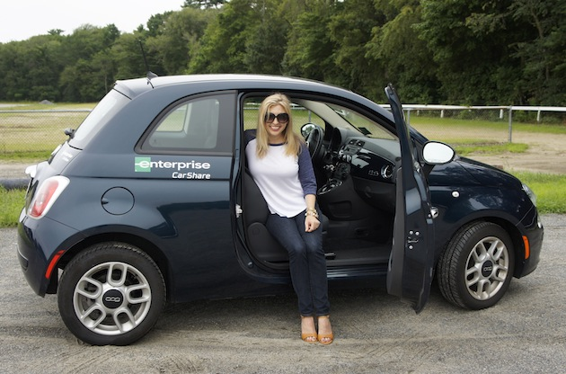 The Boston Fashionista in a Fiat 500 from Enterprise Car Share