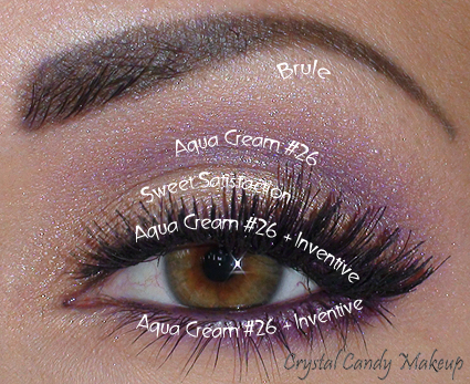 Aqua Cream #26 MUFE, Sweet Satisfaction MAC, Inventive MAC, Icon Eyes MAC, Brule MAC, ES 613 Falsies