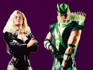 Black Canary and Green Arrow on blank background