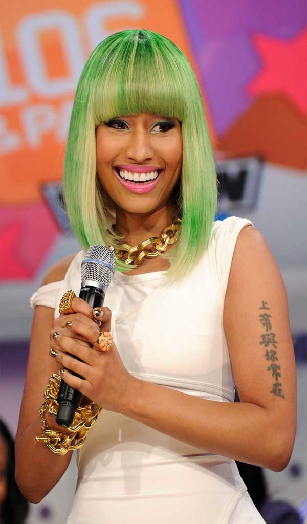 Nicki Minaj Mid Length Bob Celebrities Style