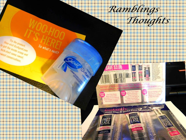Ramblings Thoughts, Mail, Free, Coupons, Products, Magazines, Samples, Buzz Agent, Secret Outlast, John Frieda