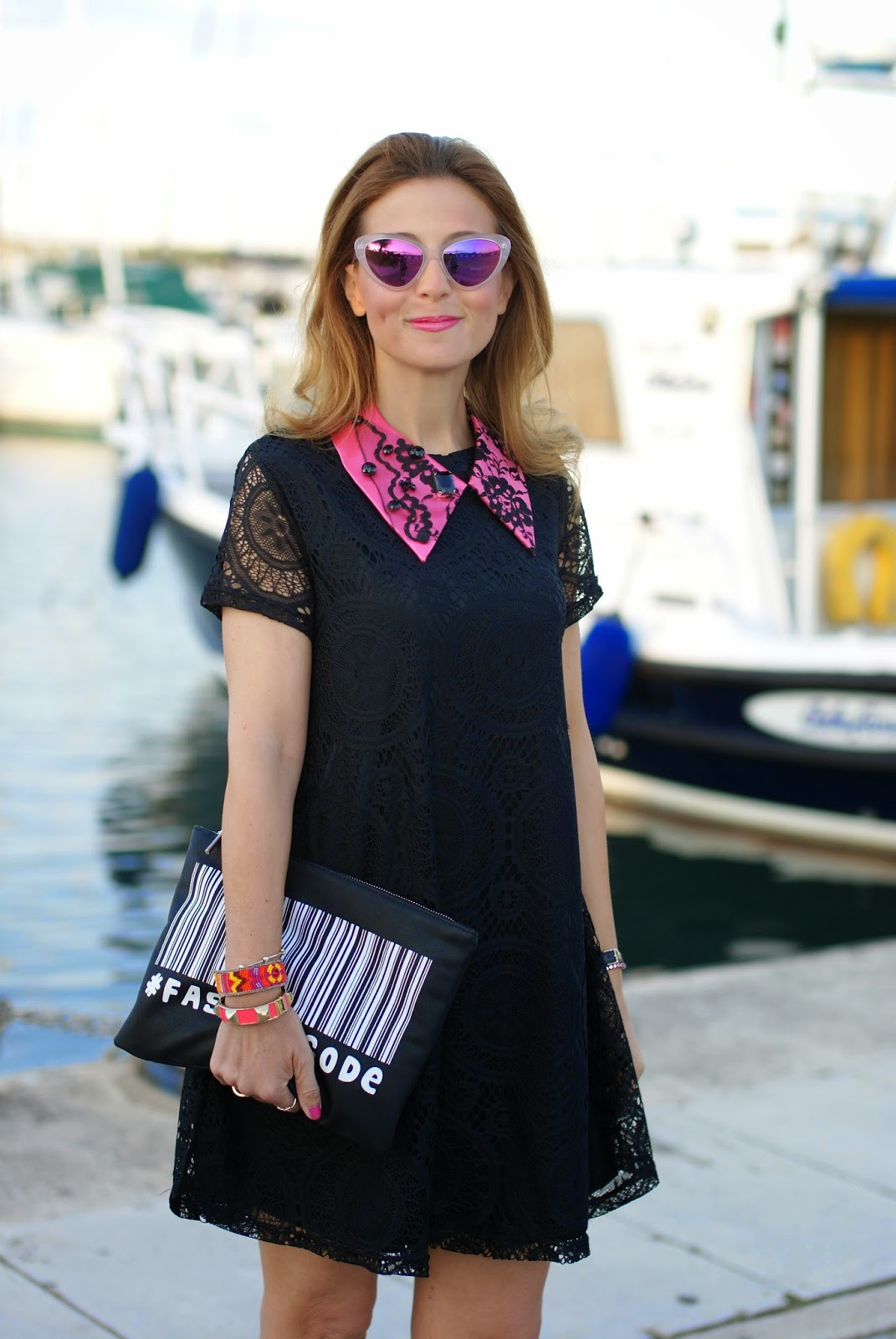 Essequadro eyewear, Fato creazioni, Blackfive lace dress, pink sunglasses, Roberto Botticelli sandals, Fashion and Cookies, fashion blogger