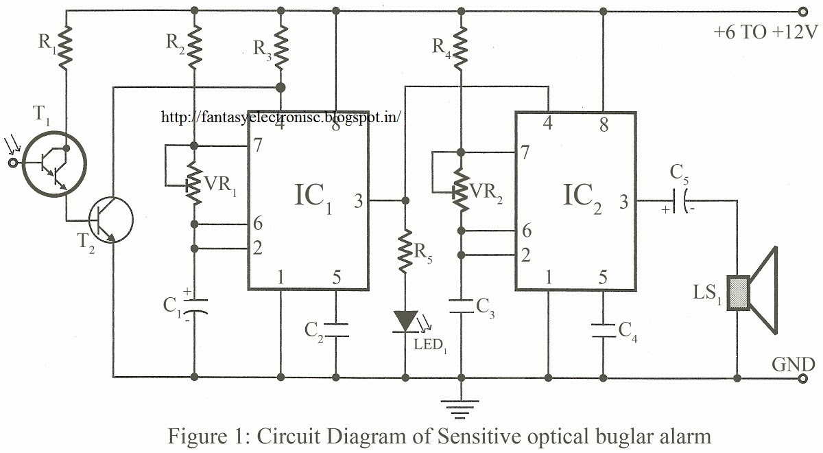 fantasyelectronics sensitive optical burglar alarm using timer ic 555Burglar Alarm Burglar Alarm Circuit Diagram Using Ic 555 #17