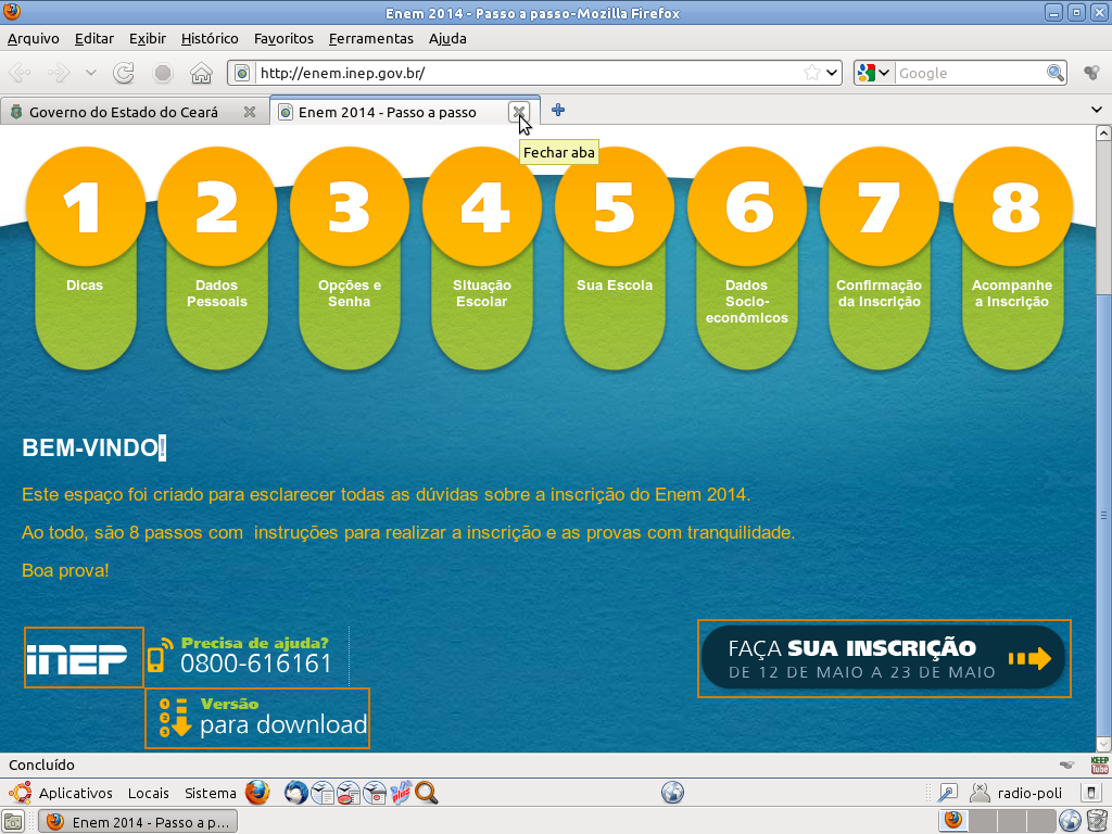 INSCRIÇÕES DO ENEM 2014 - DE 12 A 23 DE MAIO