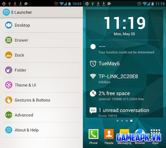 S Launcher (Galaxy S5 Launcher) Prime v2.11 cho Android