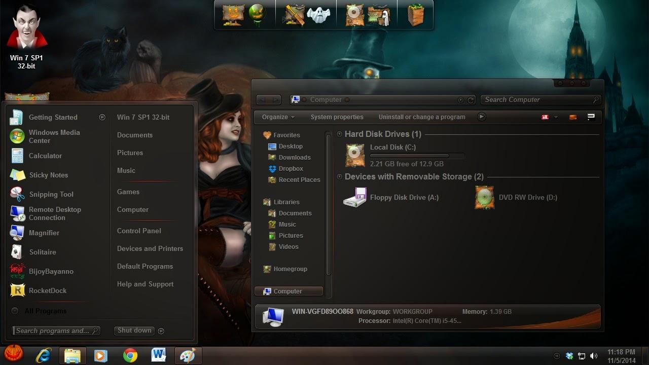 How to use Halloween desktop theme on my laptop