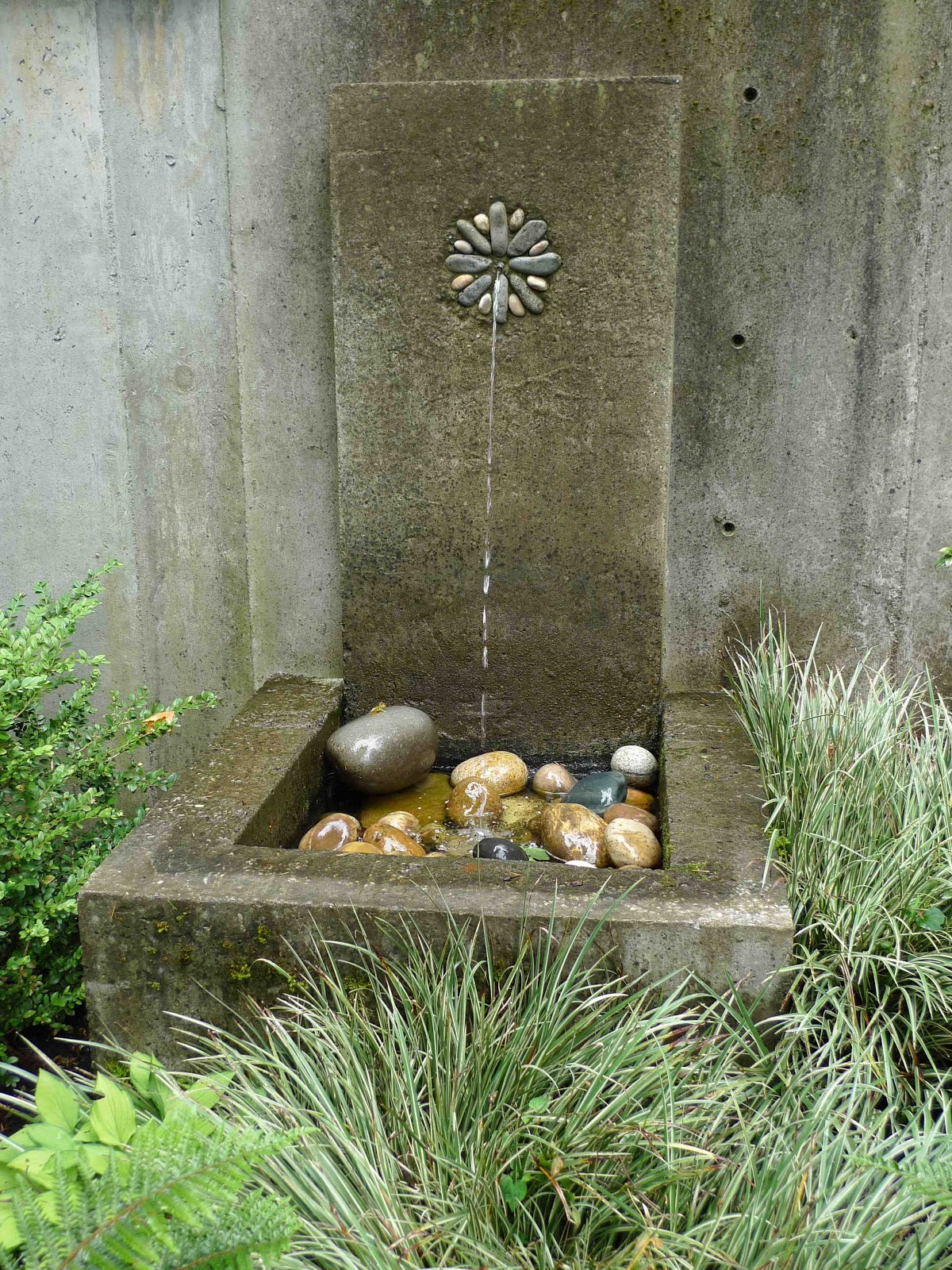 A Simple Cast Concrete Wall Fountain In A Garden I Built In 2001