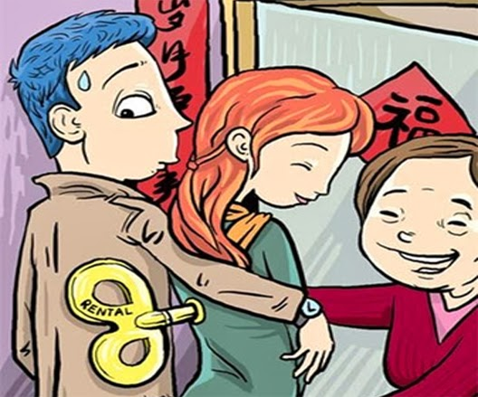 In recent years, young men and women pressed by their families to bring their girlfriends home with them for the seven-day Spring Festival prefer to rent total strangers, just to avoid long lectures and appease their relatives.