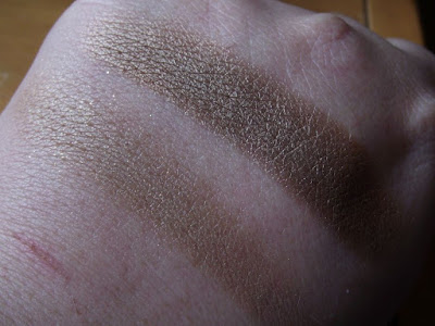 Swatches of Maybelline Color Tattoo Pigments in Buff & Tuff and Downtown Brown