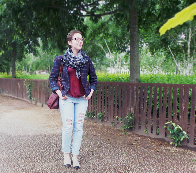 blog mode lyon lenascameo vintage jean troué blazer carreaux