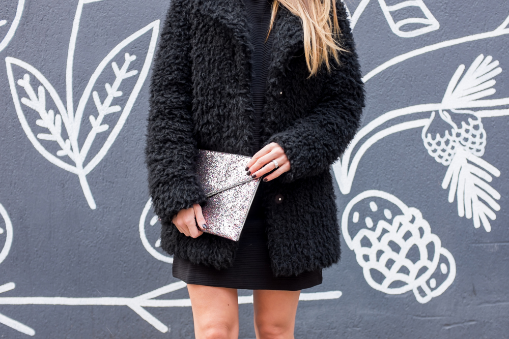 top shop shearling jacket black rebecca minkoff leo clutch glitter outfit