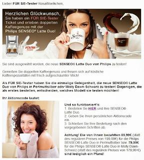 rosa w lkchen ich darf senseo latte duo testen mini einkauf bei rossmann. Black Bedroom Furniture Sets. Home Design Ideas
