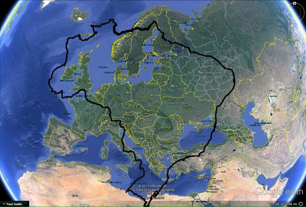 How big is Brazil when compared to Europe?