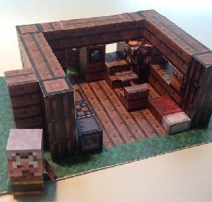 Minecraft   Mini House Paper Model With Furniture   By Jojesper Via Pixel  Papercraft