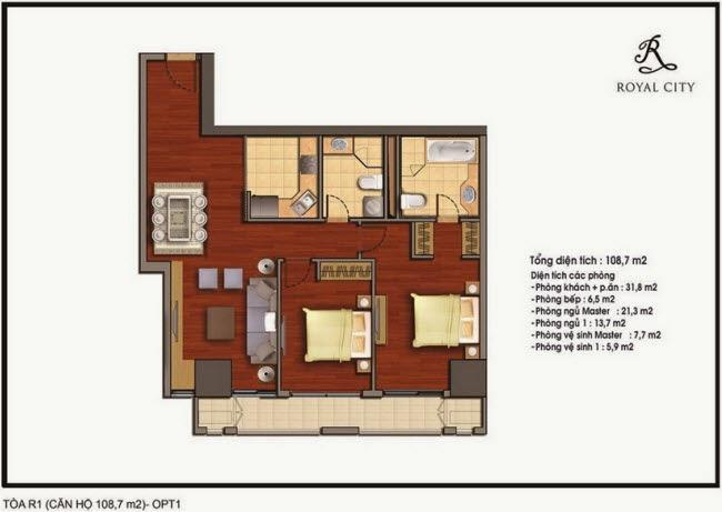 Mặt bằng Căn hộ 108,7m2 chung cư Royal City R1