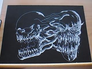 sketch on black card