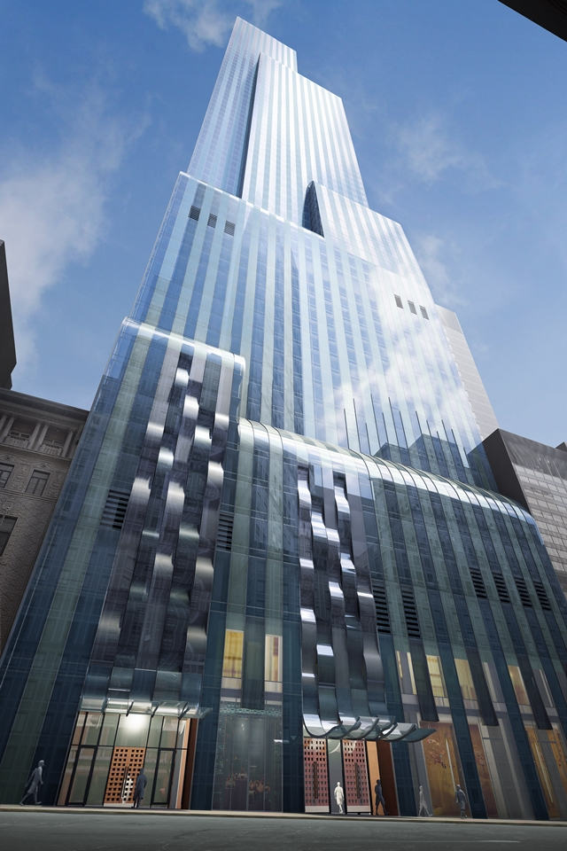 Rendering of One 57 by Christian de Portzamparc from the street