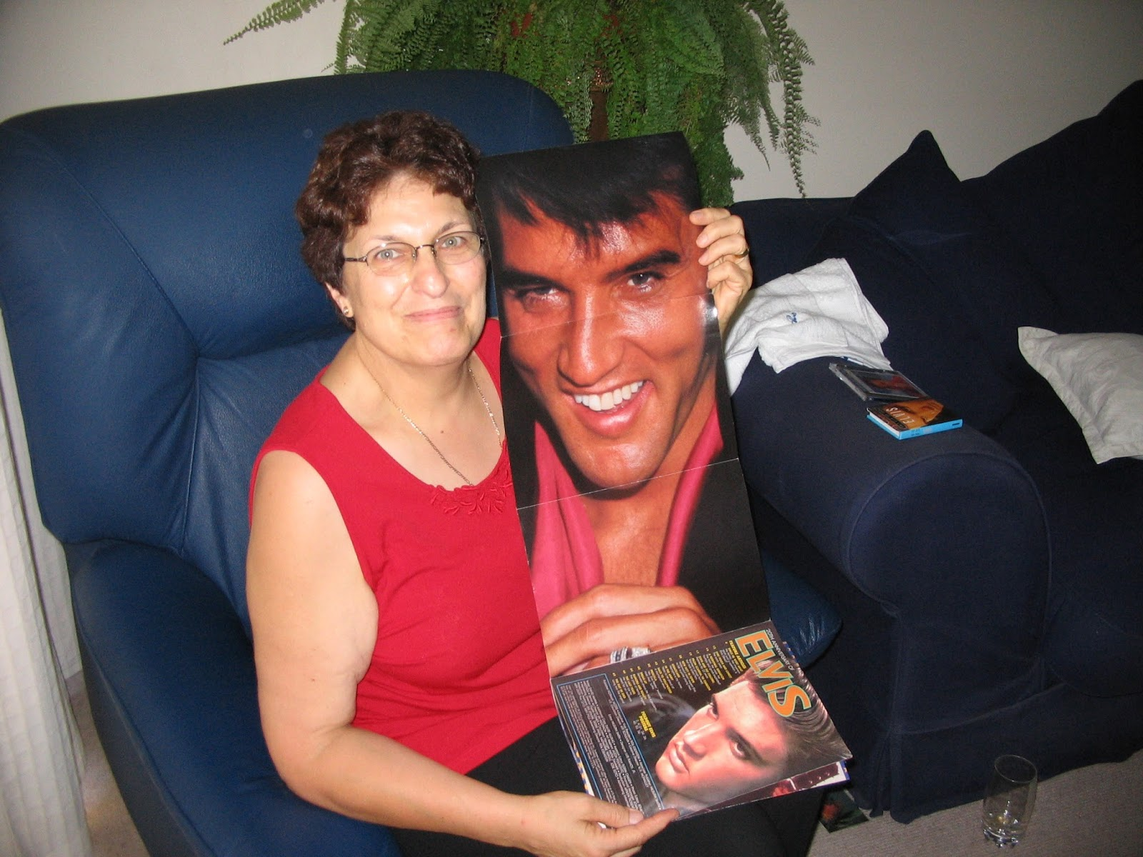 Elvis fan with Elvis picture