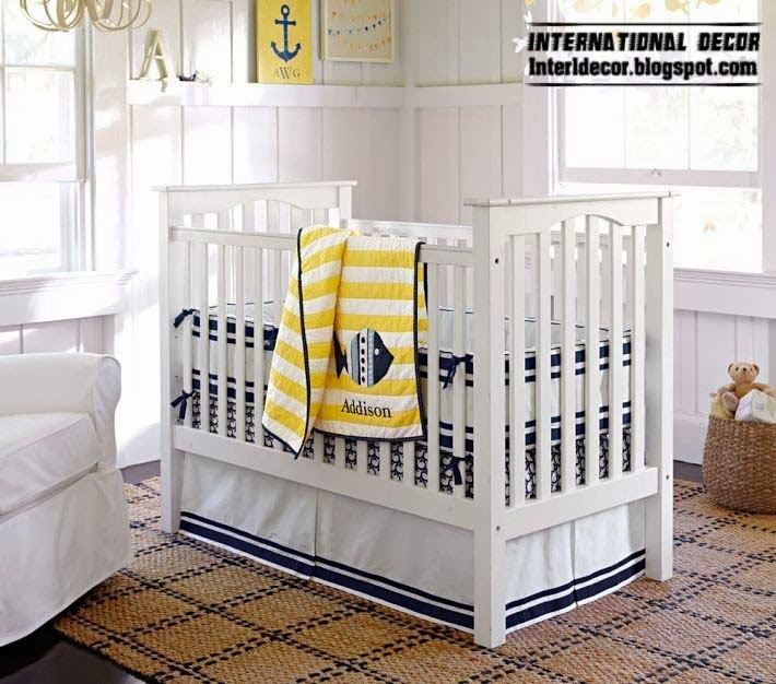 white baby bed, baby room themes marine style for children