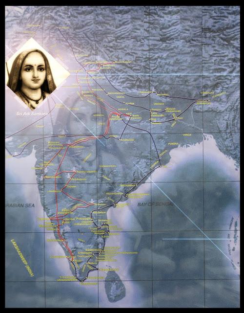 90.+Adi+Sankara's+Travel+Map - Sri Adi Sankaracharya's Life Story