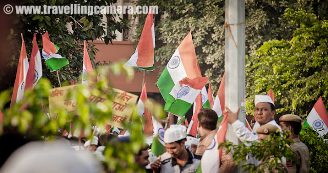 I have been to various events like Independence day celebrations, Republic days etc but this was first time I was so much Indian Flags... I know many folks around me had questioned about the correctness of those flags and stuff used... But in my opinion, if people feel respect about it and it hardly matters... Although it would have been best to have these flags with correct colors, quality n all... But if we look at logistics and pockets of people who wanted to join this movement.. I see passion overriding all the things hyped by people who didn't join in, but preferred to comment by sitting in their offices/homes...
