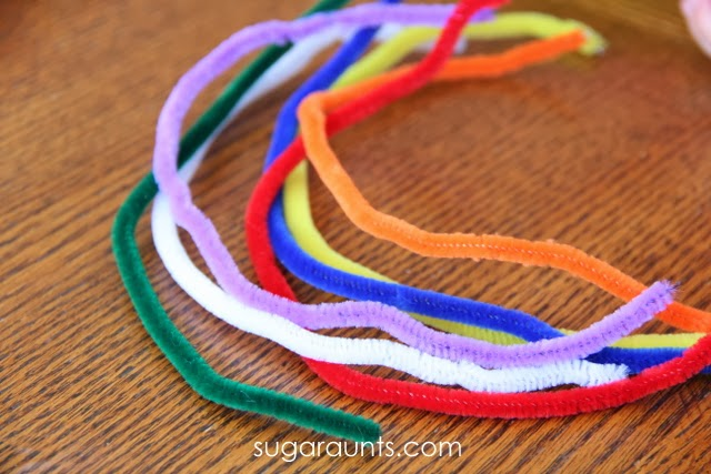 Fine Motor skills with rainbow pipe cleaners
