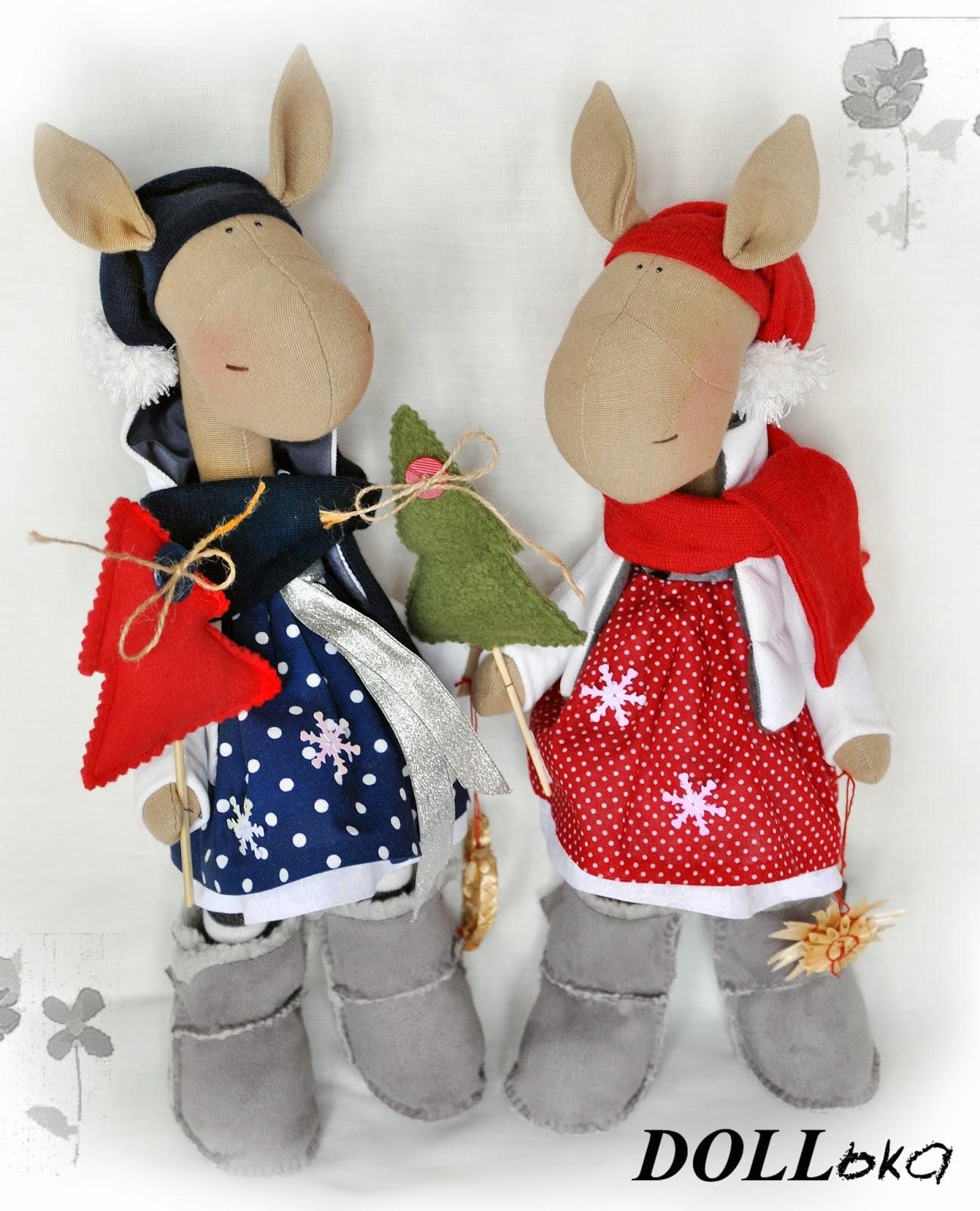 лошадки новогодние текстильные игрушки ручной работы