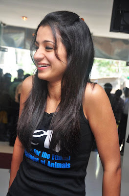 Glam Girl Trisha Smiling in Black T-Shirt, Tollywood Fashion Updates