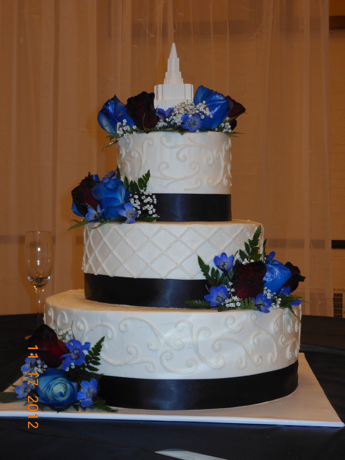 It s a piece of cake Burgundy and Blue Wedding Cake