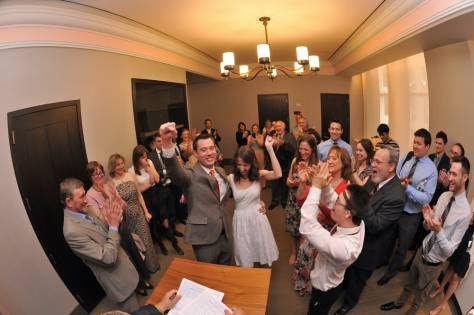 Hooray for the Bride and Groom - Fisheye Lens - City Hall NYC