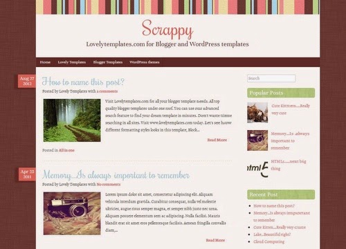 scrappy adsence brown white combinnation blogger template 2014 2015 for blogger or blogspot theme
