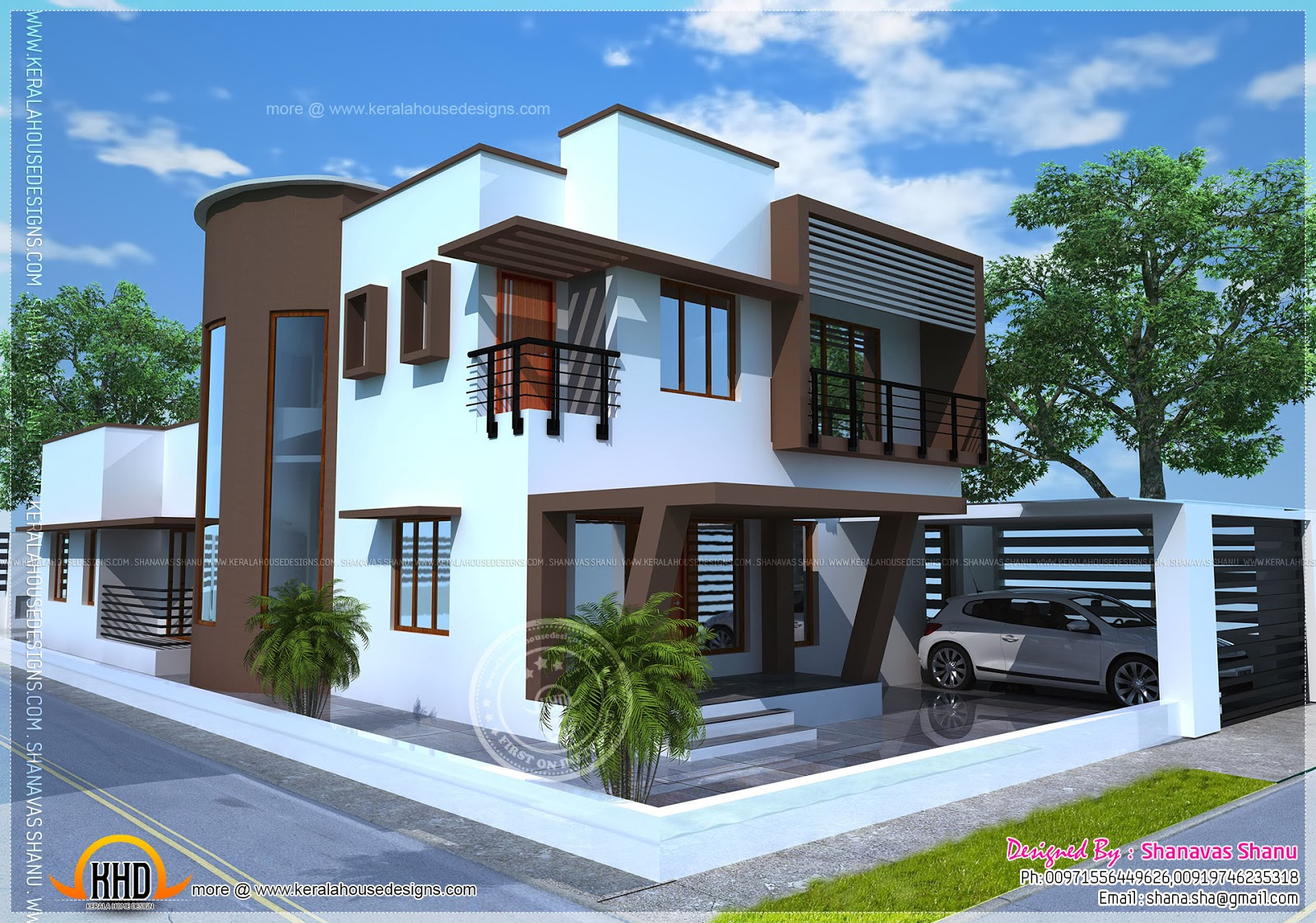 Beautiful contemporary home plan home kerala plans for Beautiful modern homes photos