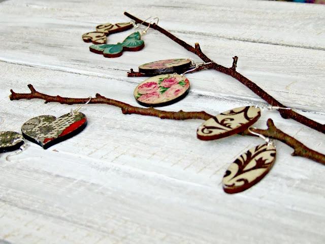 piękne kolczyki DIY decoupage kolczyki